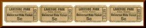 4 Lakeside Amusement Park Universal Ride Tickets, Salem, Virginia/VA