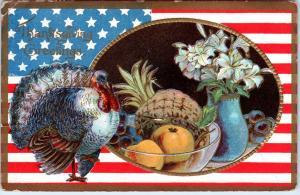 PATRIOTIC THANKSGIVING   Embossed  Postcard  1911  US FLAG, Turkey