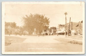Durand Illinois~Center Street One Way~Furniture~Stores~Vintage Cars~1924 RPPC