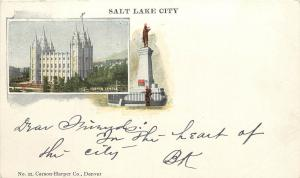 Private mailing card Salt Lake City Mormon temple and UT Brigham Young Monument