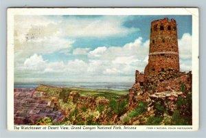 Grand Canyon AZ- Arizona, Watchtower at Desert View, Chrome c1949Postcard