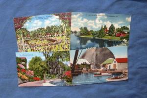 Four Scenic Early-Day Florida Postcards Hialeah Park, Sarasota, St. Petersburg
