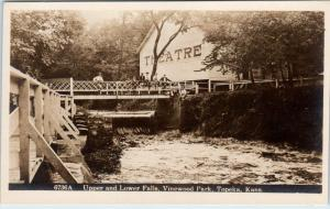 RPPC  TOPEKA, Kansas  KS   Upper Lower Falls VINEWOOD PARK THEATRE   Postcard