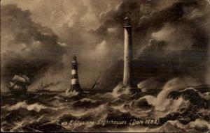 Eddystone Lighthouses c1910 Postcard