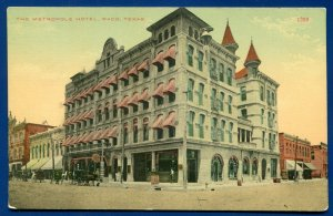 Waco Texas tx Metropole Hotel postmarked 1910s old postcard #2