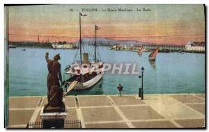 Old Postcard Toulon Genie Maritime La Rade Boat
