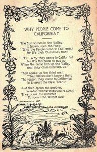 C.1910 Morris's Cafe California Poem Lymeric Los Angeles Vintage Postcard P137