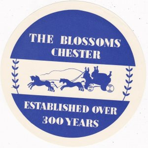England Chester Blossoms Hotel Vintage Luggage Label sk2346