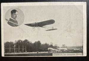 Mint France Real Picture Postcard Early Aviation Garros On Bleriot Monoplane