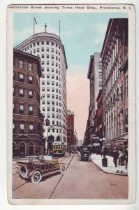P1148 old postcard scene old cars trollies etc providence  R.I. turks head bldg