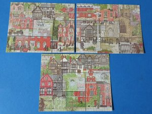 Set of 3 Art Postcards, Great Fire of Nantwich Mural, Notable Buildings BU3