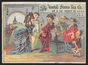 VICTORIAN TRADE CARD United States Tea Co Four Chinese Men & Woman Selling Tea