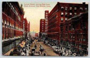 Des Moines Iowa~Locust Street East @ 6th Ave~Alexandria~Cafe~Kodaks~Beer~1914