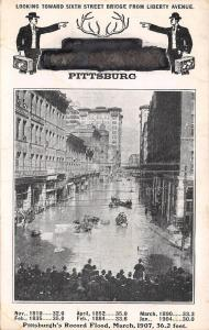 Pittsburg~Sixth Street @ Liberty Avenue~Traveling Men~Hotel Antlers~1907 Flood