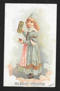 VICTORIAN TRADE CARD Hires' Root Beer Girl w/Glass