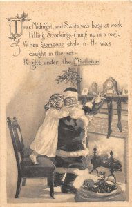 F97/ Santa Claus Christmas Postcard c1910 Child Fireplace Hug Mistletoe 6