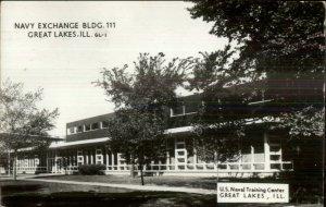 Great Lake IL Navy Exchange Bldg Real Photo Postcard USED