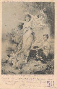 Jugendstil L'Amour Vainqueur Vintage Postcard 06.32