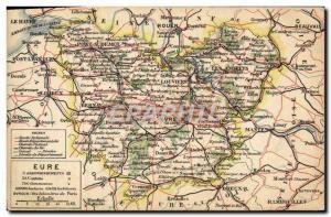Old Postcard geographical maps Eure Evreux Rouen Lisieux Mantes