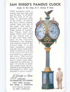 Unused Pre-1980 POSTCARD OF FAMOUS STREET CLOCK San Diego California CA E5864-12