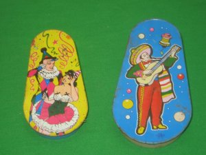 2 Vintage Litho Noisemakers Tin Kirchhof U.S. Metal Toy MFG Co