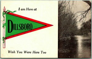 Vintage DILLSBORO Indiana Pennant Greetings Postcard I Am Here At… 1912 Cancel
