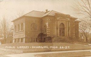 G21/ Dowagiac Michigan RPPC Postcard 1911 Public Library Building