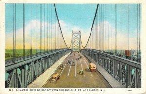 Delaware River Bridge Between Philadelphia PA & Camden NJ Old Cars Postcard