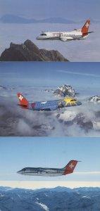 Crossair BAe 146 200 Jumbolino Saab Cityliner 3x Plane Postcard s