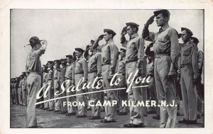 A Salute to You from Camp Kilmer, N.J., U.S. Army, World War II Era Postcard