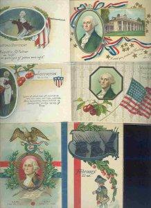 pc10334 postcard George Washington Birthday SIX 1 used 5 not used