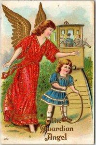 Vintage 1908 GUARDIAN ANGEL Embossed Postcard Girl Playing w/ Hoop / Trolley