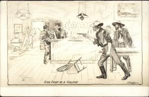 Cowboy Real Photo Card Gun Fight in Saloon - Law & Lawless Series myn