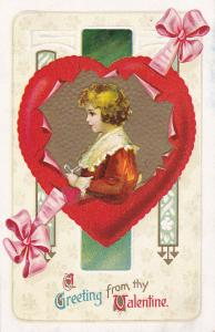 VALENTINE'S DAY, 00-10s; Greeting, Profile of little girl, Heart shaped frame