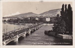 Switzerland Geneve Pont du Mont-Blanc Et Ile J J Rousseau 1929