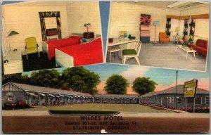 Statesboro, Georgia Postcard WILDES Motel Route 301 Roadside Linen c1950s