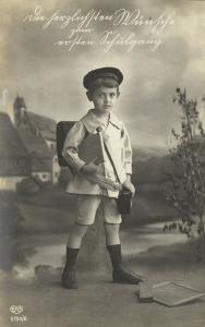 First Schoolday, Young Edwardian Boy with Books (1910s) RPPC Postcard