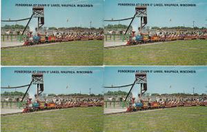0144 Grabbag Auction 4 Miniature Train Postcards Starting At .99