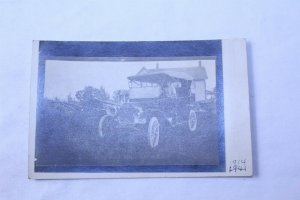 1914 Unused Photo Postcard Black & White Ford Jalopy Farmhouse Background