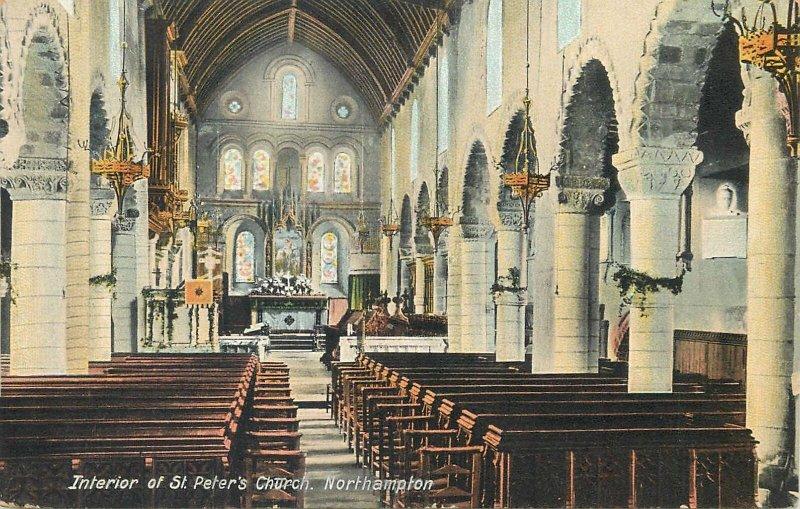 Postcard UK England Northampton, Northamptonshire St Peter church
