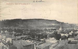 Owego New York~Birdseye View Downtown Rooftops~Church Spires~Homes~1909 B&W PC