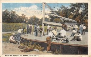 C28/ Tulsa Oklahoma Ok Postcard 1919 Working on Steel Oil Tanks Occupational
