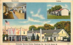 Linen Postcard; Schlenker Service Gas Station, Hamburg PA, US Route 22, Unposted