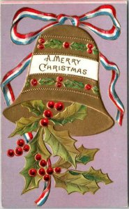 Vintage 1909 MERRY CHRISTMAS Embossed Greetings Postcard Gold Bell / Holly