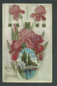1906 Post Card Good Luck W/Reflective Tinsel & Embossed