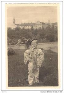Charming boy in costume, Moravske narodni kroje Svatoborice u Kyjova, 10-20s