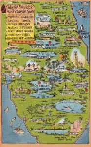 FLORIDA, 1930-1940's; Colorful Florida's Most Colorful Spots Map