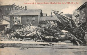 LPS27 Erie Pennsylvania 1915 Flood 7th and French Street Damage Postcard