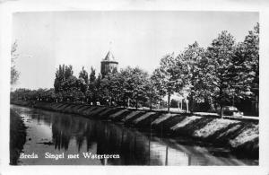 Netherlands Breda Singel met Watertoren River Tower Postcard