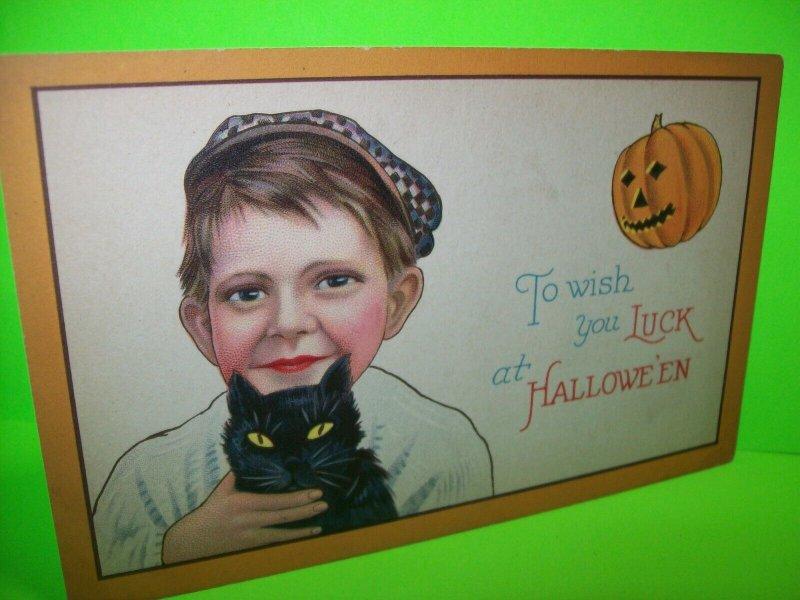 Halloween Postcard Boy Holding Black Cat 1291 C Stecher Original Antique  #4